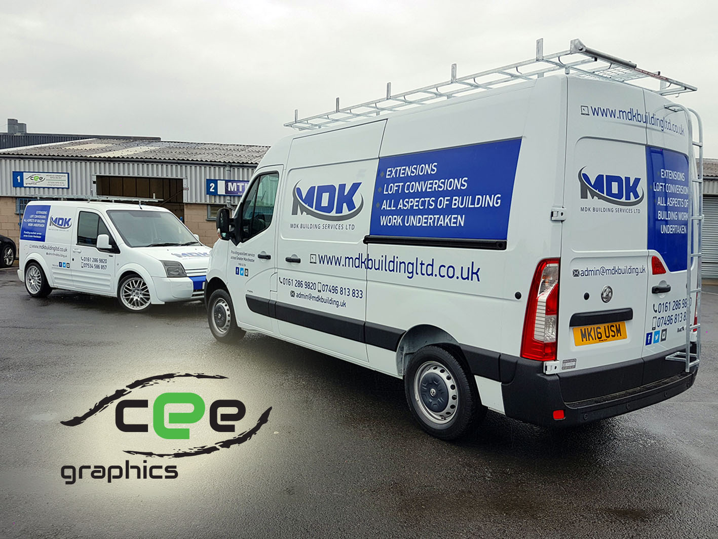 Tags Manchester MDK Building Services Tameside Van Signage Signs Vehicle Graphics Vinyl Decals